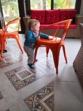 Enjoying the Orange Chairs