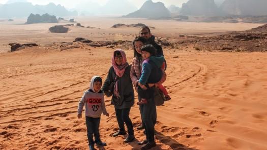 Yoko and her family in Wadi Rum