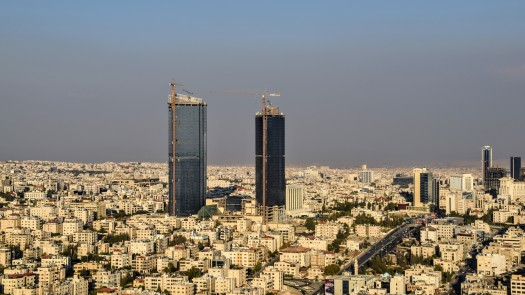 Amman - Jordan Gate Towers from Helicopter